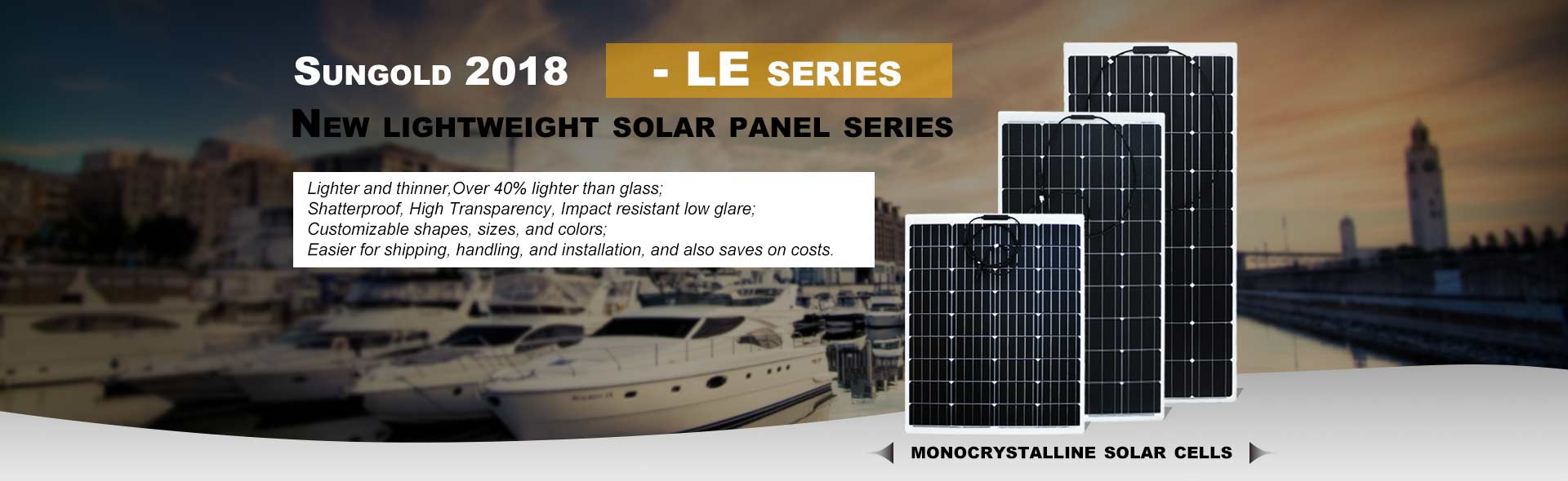 SUngold lightweight solar panel